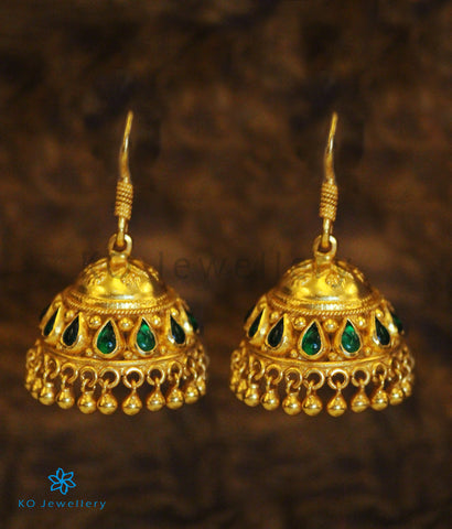 The Ahalya Silver Jhumka (Green)