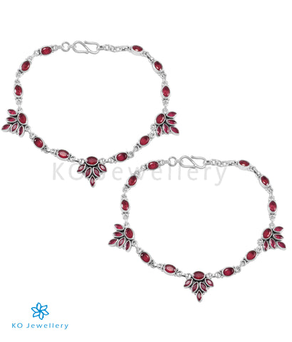 The Kamna Silver Gemstone Anklets (Red)