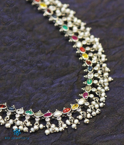 The Prerna Silver Navratna Necklace