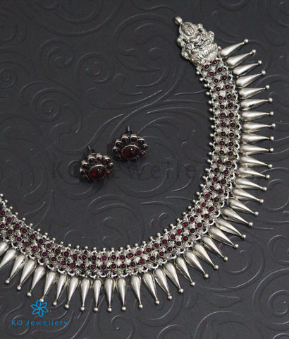The Mallige Moggu Silver Kempu Necklace (Oxidised)
