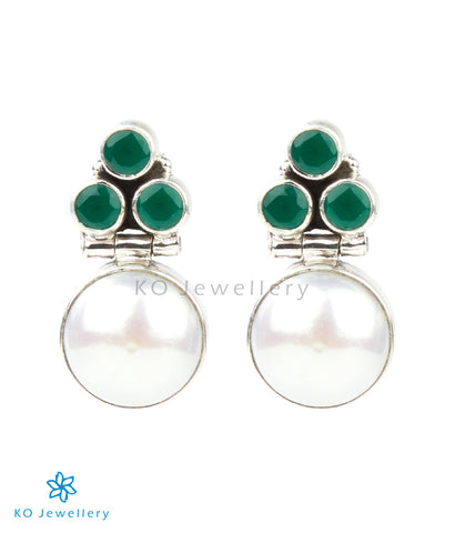 The Divit Silver Gemstone Earrings(Green)