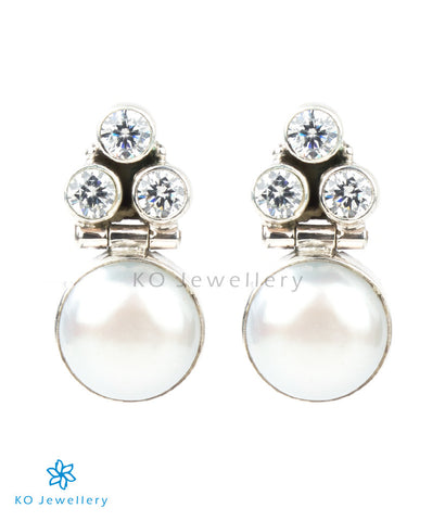The Divit Silver Gemstone Earrings(White)