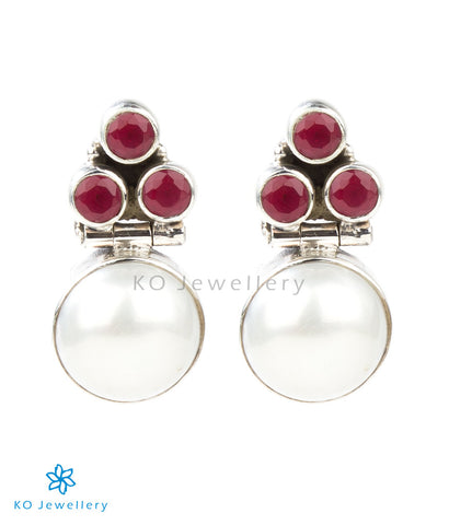 The Divit Silver Gemstone Earrings(Red)