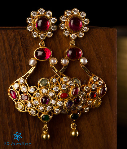 The Sirikit Silver Navratna Gemstone Earrings