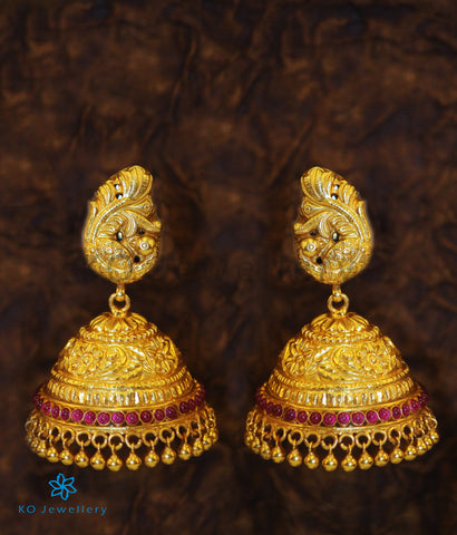 The Shristhi Nakkasi Silver Peacock Jhumka