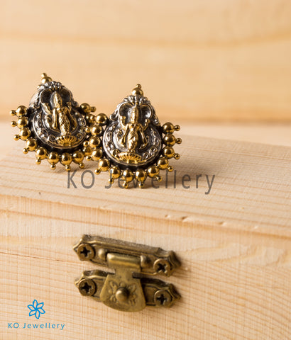 The Kamakshi Silver Earrings (Two-Tone)