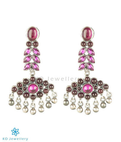The Varsha Silver Kempu Earrings (Oxidised)