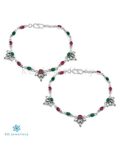 The Kamna Silver Gemstone Anklets (Red/Green)