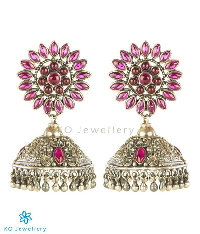 The Rati Silver Floral Jhumka (Oxidised)