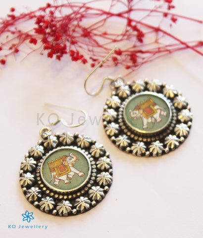 The Vishwa Silver Hand Painted Elephant Earrings