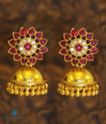 The Anahita Siver Jhumka (Red)