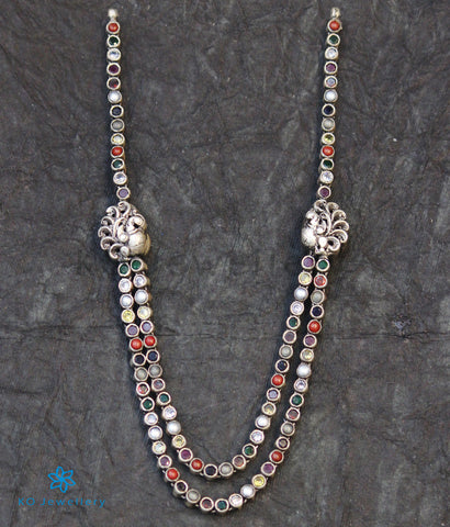The Abhinaya Silver Reversible Peacock Navratna Necklace
