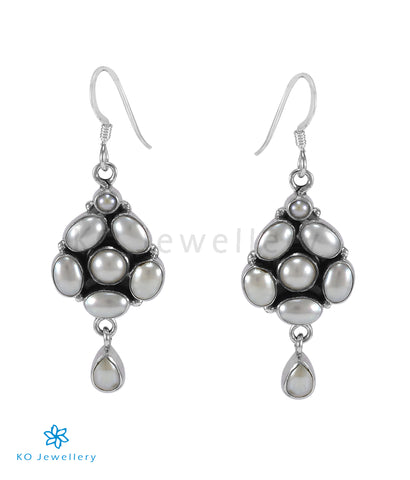 The Swar Silver Gemstone Earrings (Pearl)