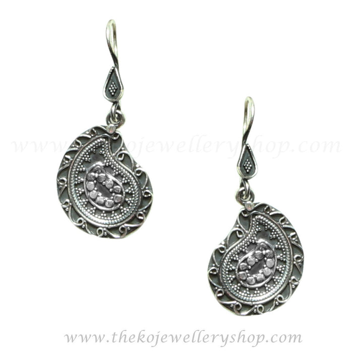 Paisley shaped contemporary hooked earrings shop online