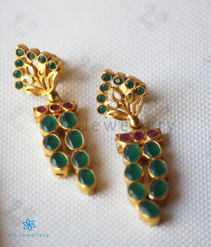 The Sraj Silver Kempu Earrings(Green)