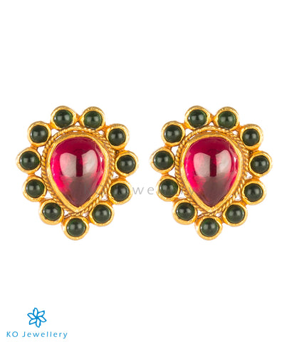 The Vanshika Silver Kempu Ear-Studs
