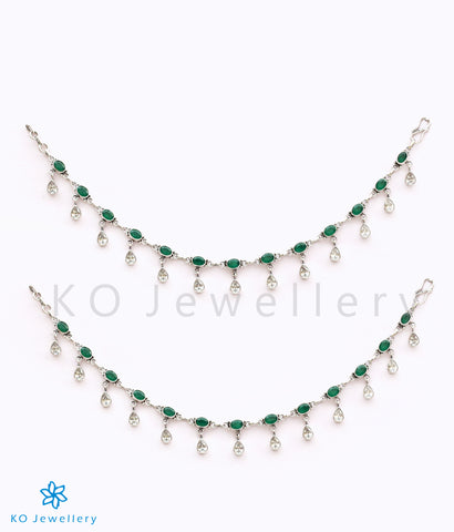 The Rudhira Silver Gemstone Anklets (Green)