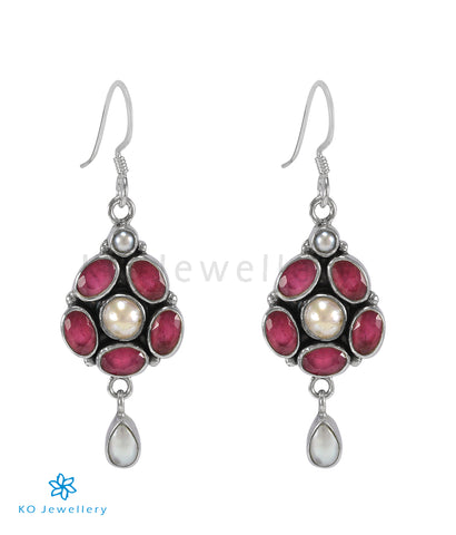 The Swar Silver Gemstone Earrings (Red/Pearl)