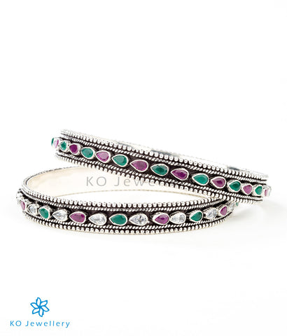 Beautiful silver bangles genuine stone jewellery online