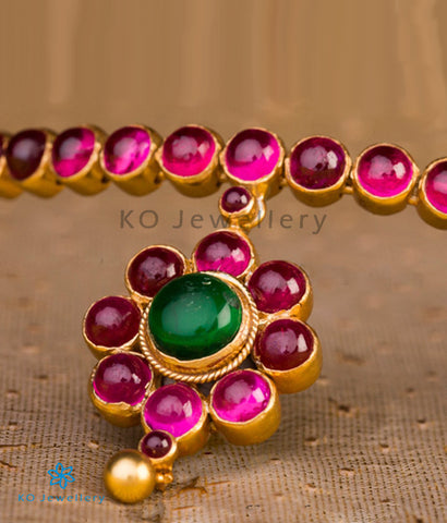 The Rasika Addigai Silver Necklace (Red/Green)
