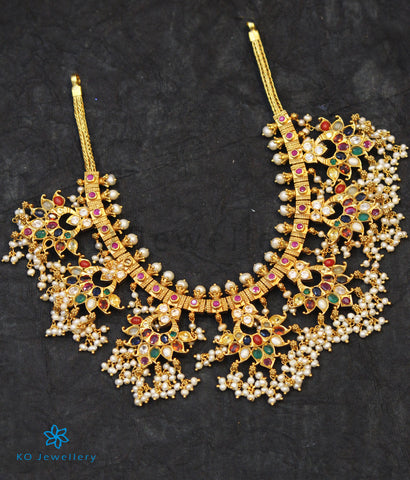The Parijata Silver Navaratna Guttapusalu Necklace