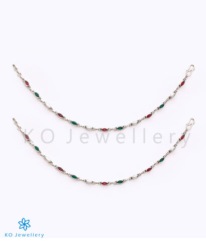 925 stamped silver jhanjhar with gemstones