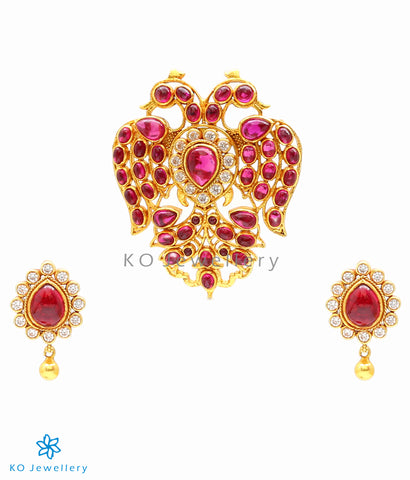 The Gandaberunda Silver Pendant Set (Red)