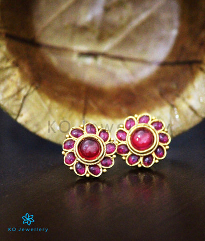 The Aarav Silver Kempu Ear-Studs(Red)