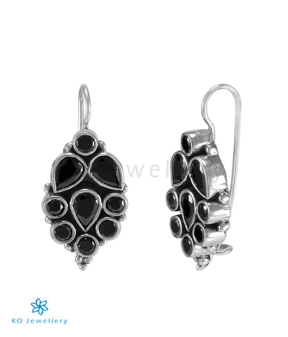 The Chaitali Silver Gemstone Earrings (Black)