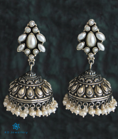 The Vasudha Silver Gemstone Jhumka (Pearl)
