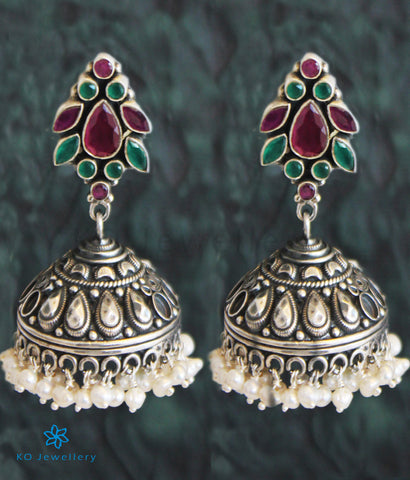The Vasudha Silver Gemstone Jhumka (Red/Green)