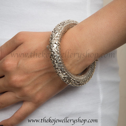The Abhith Silver Engraved Bracelet