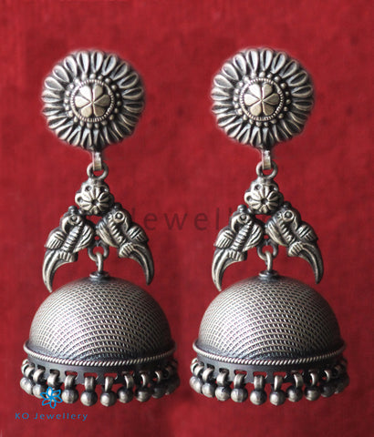 The Vrsha Silver Parrot Jhumka(Oxidised)