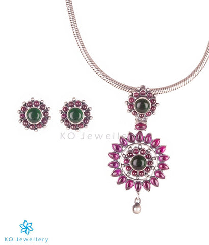 The Varada Silver Kempu Pendant Set (Oxidised)