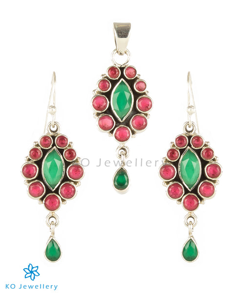 Silver and red/green zircon pendant set online shopping India