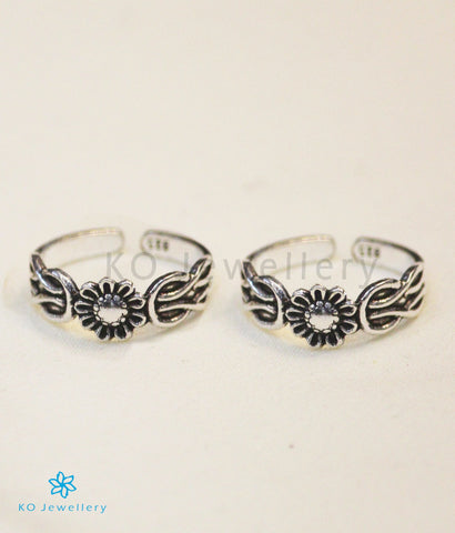 The Floral Silver Toe-Rings