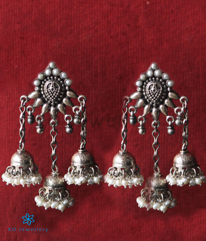 The Tricit Silver Pearl Jhumka