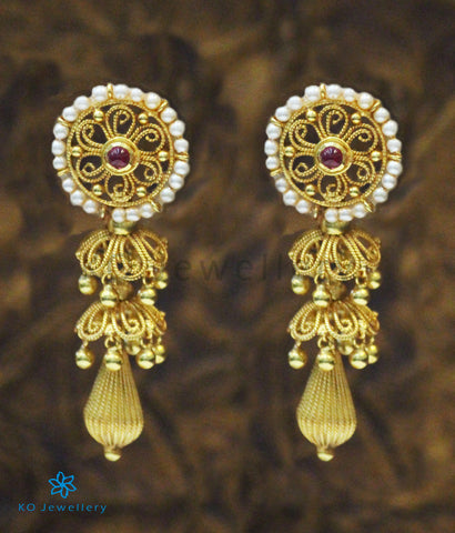 The Prarthana Silver Earrings (Red)
