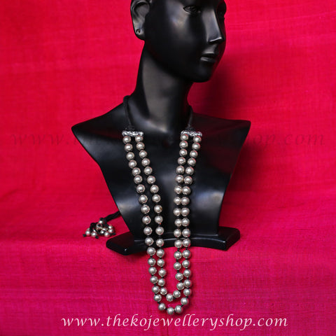 The Ajala Silver Beads Necklace(Two-Strand)