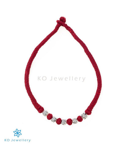 The Preshti Silver Necklace(Maroon)