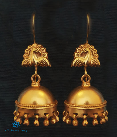 The Barha Silver Peacock Jhumka (Hook)