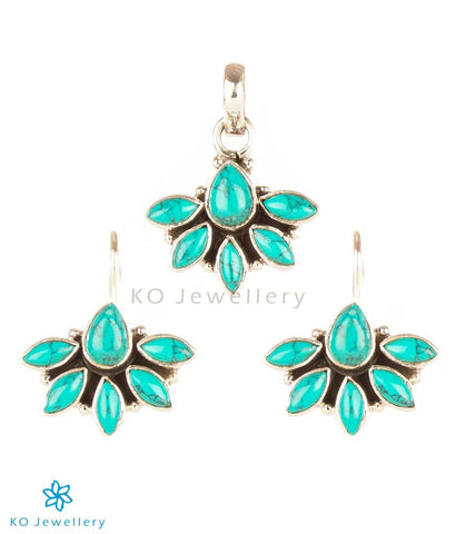 Real turquoise semi-precious pendant set online shopping