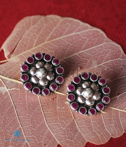The Vartula Silver Ear-Studs (Red)