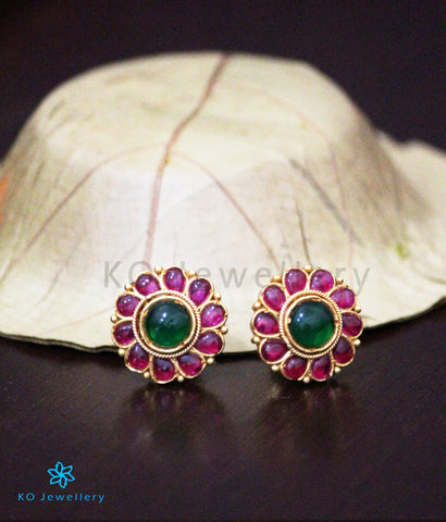 The Aarav Silver Kempu Ear-Studs(Red/Green)