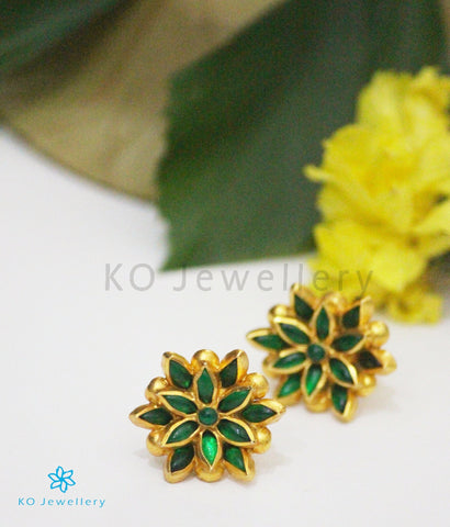 Gold coated pure silver lotus shaped green earrings
