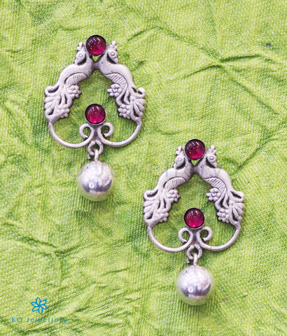 The Ninad Silver Peacock Earrings