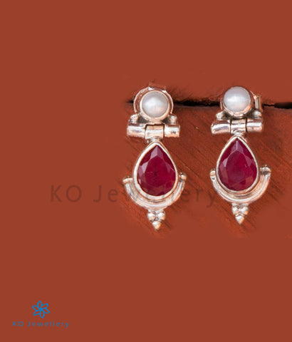The Sia Silver Gemstone Earrings- Red