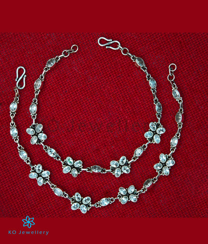 The Kadambari Silver Gemstone Anklets (White)