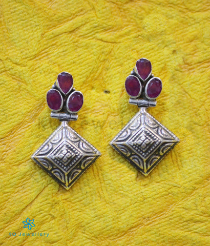 The Rangoli Silver Gemstone Earrings (Red)