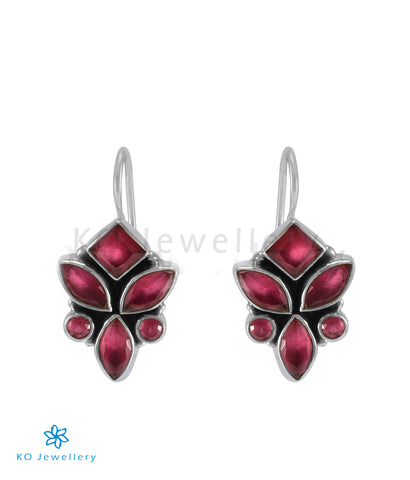 The Tarun Silver Gemstone Earrings (Red)
